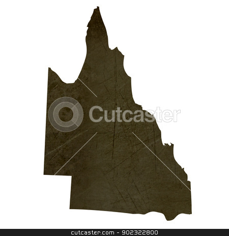 Dark silhouetted map of Queensland stock photo, Dark silhouetted and textured map of Queensland province of Australia isolated on white background. by Martin Crowdy