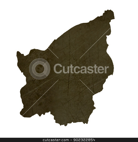 Dark silhouetted map of San Marino stock photo, Dark silhouetted and textured map of San Marino isolated on white background. by Martin Crowdy