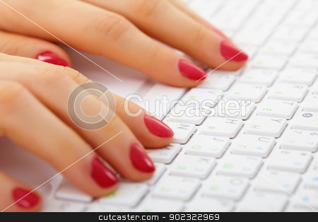 Female hands on computer keyboard - typing stock photo, Women's hands on a computer keyboard close up - typing by Alexey Romanov