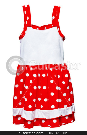 Small red polka dot dress for girls on white stock photo, Small red polka dot dress for girls isolated on white background by Alexey Romanov