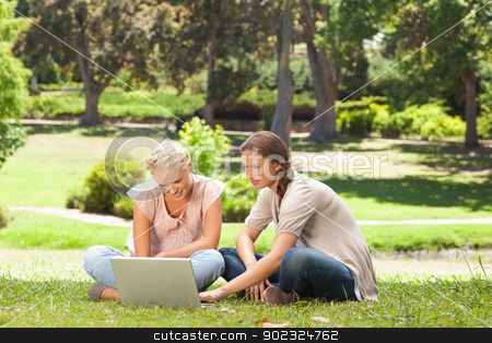 Friends sitting on the lawn with a laptop stock photo, Female friends sitting on the lawn with a laptop by Wavebreak Media