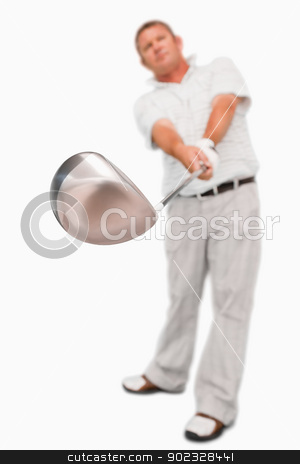 Golf club being used stock photo, Golf club being used against a white background by Wavebreak Media