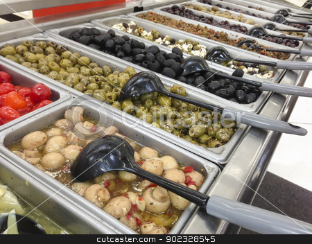 Olive Variety Buffet in Delicatessen stock photo, Marinating Olive Variety Buffet in Delicatessen. by Andy Dean