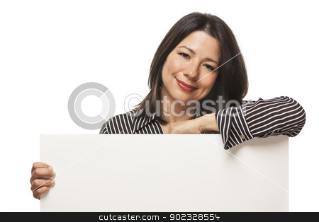 Attractive Mixed Race Woman Holding Blank White Sign stock photo, Attractive Mixed Race Woman Holding Blank White Sign Isolated on a White Background. by Andy Dean