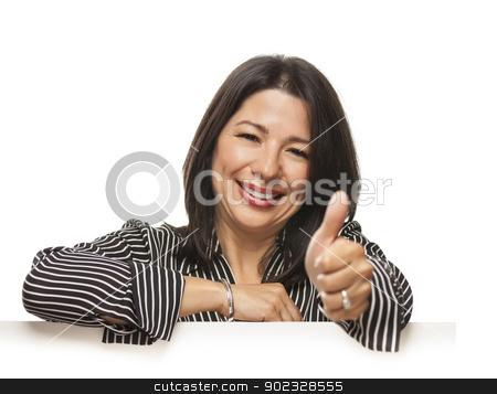 Mixed Race Woman Leaning on Blank White Sign with Thumbs Up stock photo, Attractive Smiling Mixed Race Woman Leaning on Blank White Sign with Thumbs Up Isolated on a White Background. by Andy Dean