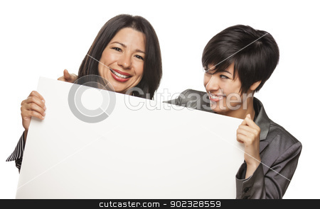 Attractive Mixed Race Mother and Daughter Holding Blank White Si stock photo, Attractive Mixed Race Mother and Daughter Holding Blank White Sign Isolated on a White Background. by Andy Dean