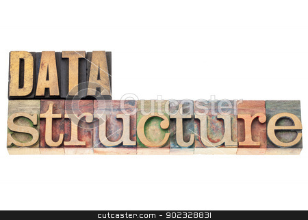 data structure in wood type stock photo, data structure - isolated text  in vintage letterpress wood type by Marek Uliasz