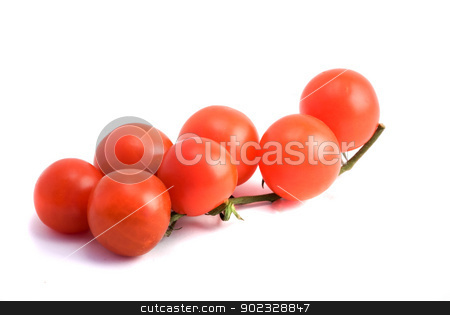 Closeup of branch of cherry tomatoes isolated on white backgroun stock photo, Closeup of branch of cherry tomatoes isolated on white background by vaeenma
