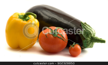 Eggplant, sweet pepper,  and tomatoes stock photo, Eggplant, sweet pepper, and tomatoes by vaeenma