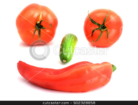Pepper, tomatos and cucumber isolated on white background stock photo, Pepper, tomatos and cucumber isolated on white background by vaeenma