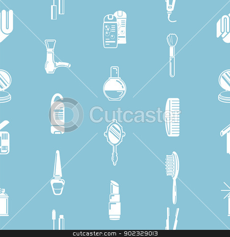 Seamless cosmetics background texture stock vector clipart, A repeating seamless cosmetics background tile texture with lots of drawings of different cosmetics and beauty products by Christos Georghiou