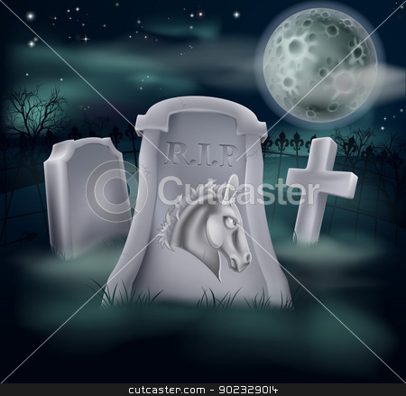 Death of Democrat Party Concept stock vector clipart, Death of Democrat Party concept of tombstone with Democrat symbol of Donkey on a grave marker (Republican version also available) by Christos Georghiou
