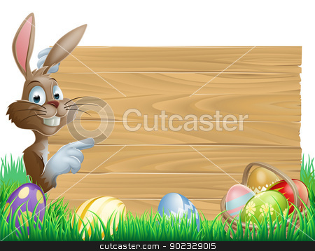 Easter Eggs Wooden Sign stock vector clipart, Easter bunny character pointing at a blank sign with space for text. Surrounded by painted chocolate eggs by Christos Georghiou