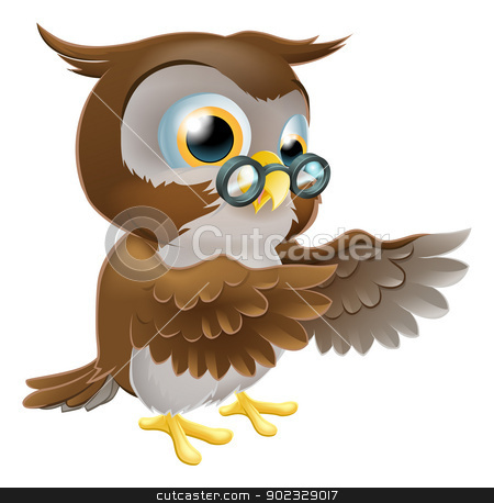 Pointing Cute Cartoon Owl stock vector clipart, An illustration of a cute cartoon wise owl character pointing or showing something with both his wings by Christos Georghiou