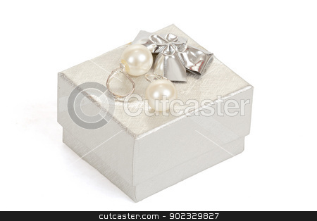 two pearl earrings and gift box isolated on white stock photo, two pearl earrings and gift box isolated on white background by Artush
