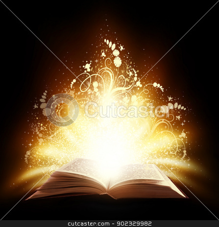 Magic book stock photo, Magic open book with light and ornate on a black background by Olga Altunina