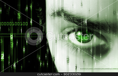 Abstract matrix  stock photo, Abstract background with figures in movement and eye by Olga Altunina