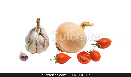Tomatoes, onion, and garlic isolated on white bakground stock photo, Tomatoes, onion, and garlic isolated on white bakground by vaeenma