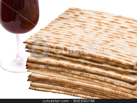 Close up of matza and goblet with red wine  stock photo, Close up of matza and goblet with red wine  by vaeenma