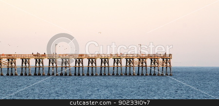 Goleta Pier stock photo, Goleta pier in the evening at sunset. by Henrik Lehnerer