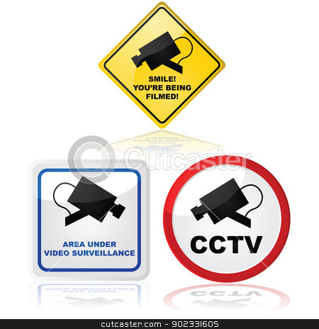 Video camera in use stock vector clipart, Signs showing that a video camera is in use in the place where the sign is located by Bruno Marsiaj