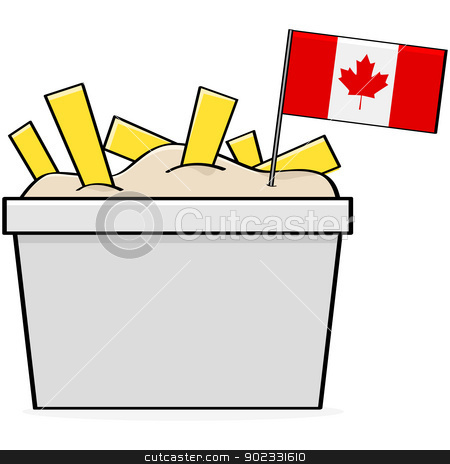 Canadian poutine stock vector clipart, Cartoon illustration showing a bowl of the traditional Canadian food called poutine, made of cheese, fries and gravy by Bruno Marsiaj