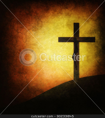 Jesus Christ stock photo, Grunge Brown Background With Jesus Christ Crucified On Calvary by Olga Altunina