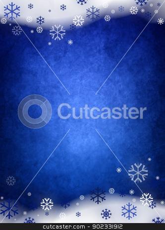 Ice Blue Christmas Background stock photo, Ice Blue Christmas Background With Snow And Snowflakes by Olga Altunina