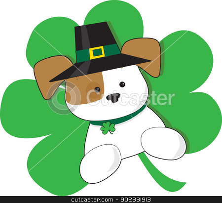 Irish Puppy stock vector clipart, A cute puppy with Irish top hat is superimposed on a green shamrock in celebration of St Patricks day. by Maria Bell