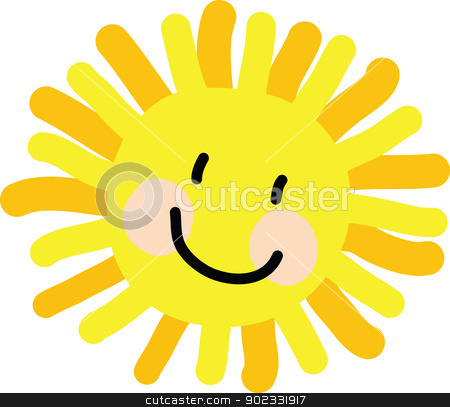 Sun Child Drawing stock vector clipart, A vibrant childlike drawing of a happy face image of the sun. by Maria Bell