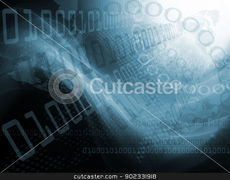 Background with numbers stock photo, Background with abstract smooth lines and numbers by Olga Altunina