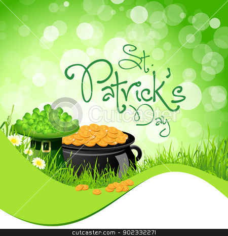 St. Patricks Day Background stock vector clipart, Saint Patrick's Day with Flowers, Leprechaun Hat, Shamrock and Cauldron with Gold Coins by Vadym Nechyporenko