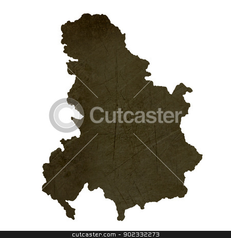 Dark silhouetted map of Serbia and Montenegro stock photo, Dark silhouetted and textured map of Serbia and Montenegro isolated on white background. by Martin Crowdy