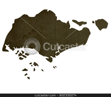 Dark silhouetted map of Singapore stock photo, Dark silhouetted and textured map of Singapore isolated on white background. by Martin Crowdy