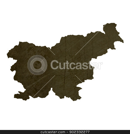 Dark silhouetted map of Slovenia stock photo, Dark silhouetted and textured map of Slovenia isolated on white background. by Martin Crowdy