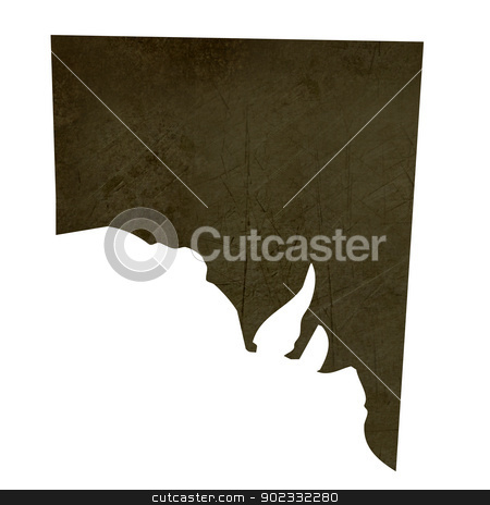 Dark silhouetted map of Southern Australia stock photo, Dark silhouetted and textured map of province of Southern Australia isolated on white background. by Martin Crowdy