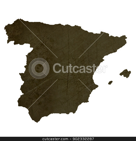 Dark silhouetted map of Spain stock photo, Dark silhouetted and textured map of Spain isolated on white background. by Martin Crowdy