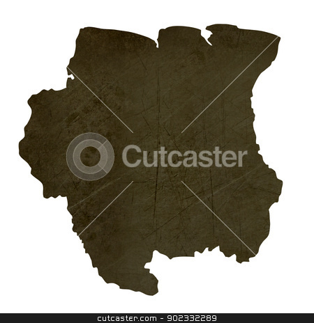 Dark silhouetted map of Suriname stock photo, Dark silhouetted and textured map of Suriname isolated on white background. by Martin Crowdy