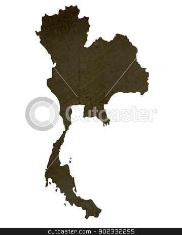 Dark silhouetted map of Thailand stock photo, Dark silhouetted and textured map of Thailand isolated on white background. by Martin Crowdy