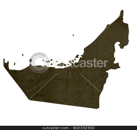 Dark silhouetted map of United Arab Emirates stock photo, Dark silhouetted and textured map of United Arab Emirates isolated on white background. by Martin Crowdy