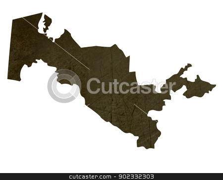 Dark silhouetted map of Uzbekistan stock photo, Dark silhouetted and textured map of Uzbekistan isolated on white background. by Martin Crowdy