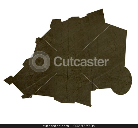 Dark silhouetted map of Vatican City State stock photo, Dark silhouetted and textured map of Vatican City State isolated on white background. by Martin Crowdy