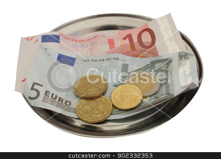 Euro money tips on metal tray stock photo, Closeup of European banknotes and coins on metal tray, white background. by Martin Crowdy