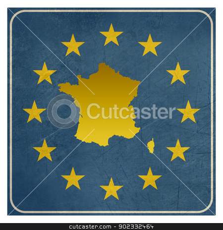 France European sign stock photo, France European sign isolated on white background.   by Martin Crowdy