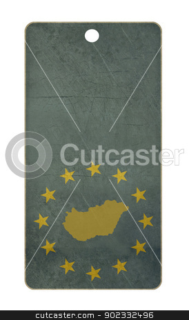 Hungary travel tag stock photo, Hungary travel tag isolated on white background with copy space.  by Martin Crowdy