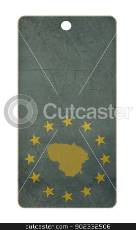Lithuania travel tag stock photo, Lithuania travel tag isolated on white background with copy space.  by Martin Crowdy