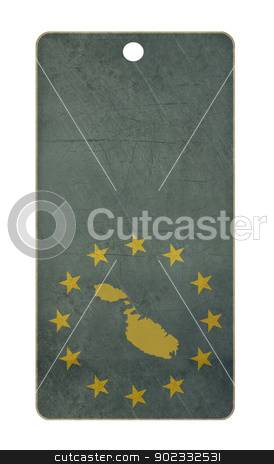 Malta travel tag stock photo, Malta travel tag isolated on white background with copy space.  by Martin Crowdy