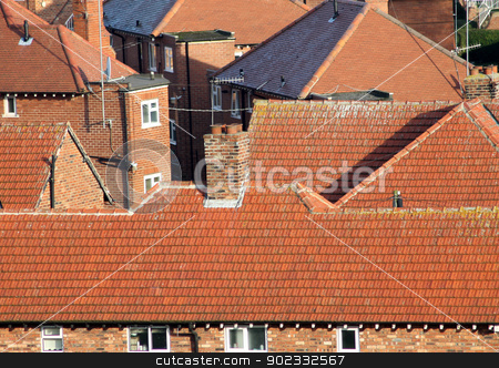Red tiles on house roofs stock photo, Red tiles on house roofs in English housing estate, Scarborough. by Martin Crowdy