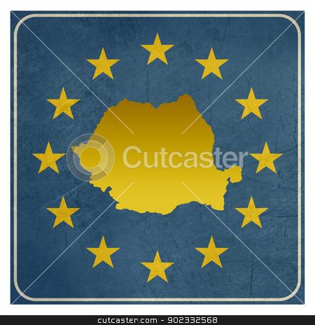 Romania European sign stock photo, Romania European sign isolated on white background.  by Martin Crowdy