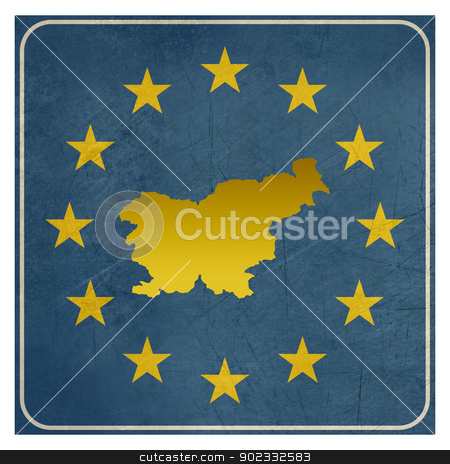 Slovenia European sign stock photo, Slovenia European sign isolated on white background.  by Martin Crowdy